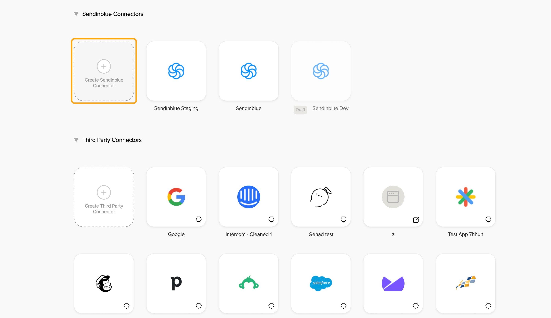 Click on Create Sendinblue Connector